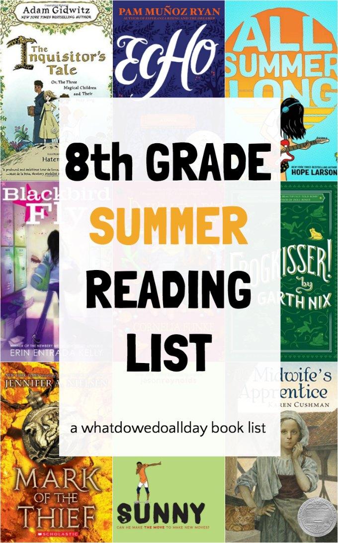 8th grade reading list - great for summer reading. #summerreading #8thgrade