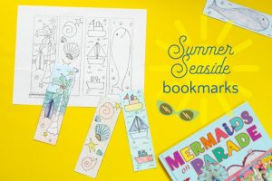 Summer Reading: Seaside Bookmarks to Color