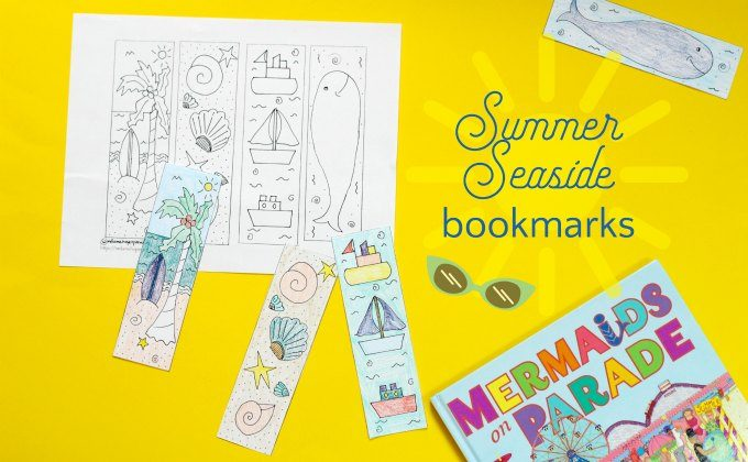 Summer seaside bookmarks to print out and color