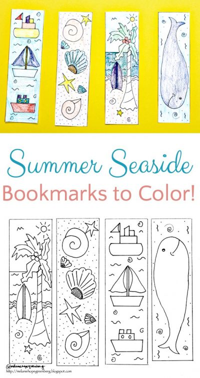 Printable seaside themed bookmarks perfect for summer reading.