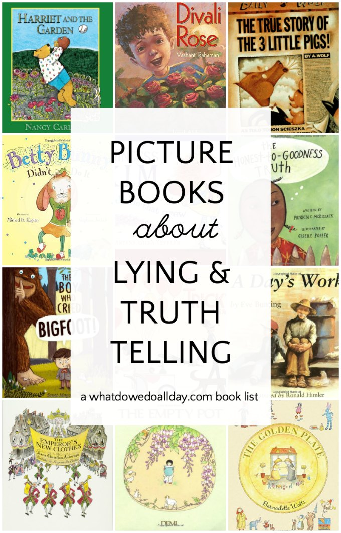 Children's picture books about lying. These books teach honesty and integrity and encourage kids to tell the truth. Click through for the whole book list. #childrensbooks #picturebooks #kidsbooks