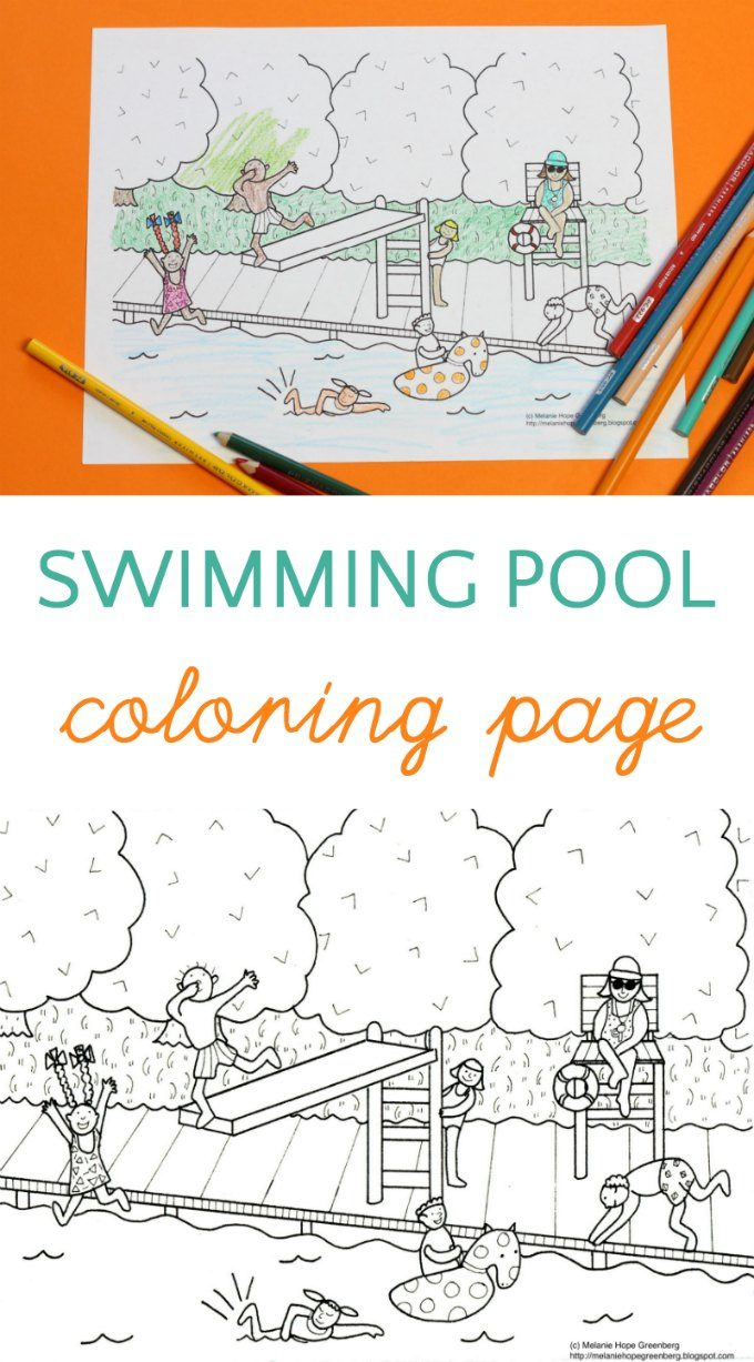 Pool party coloring page