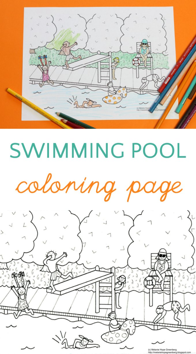 Swimming pool coloring page. The perfect summer activity for kids.