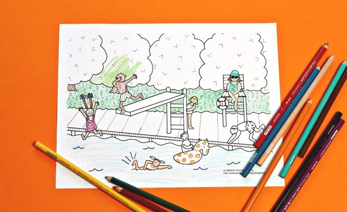 Swimming pool coloring page