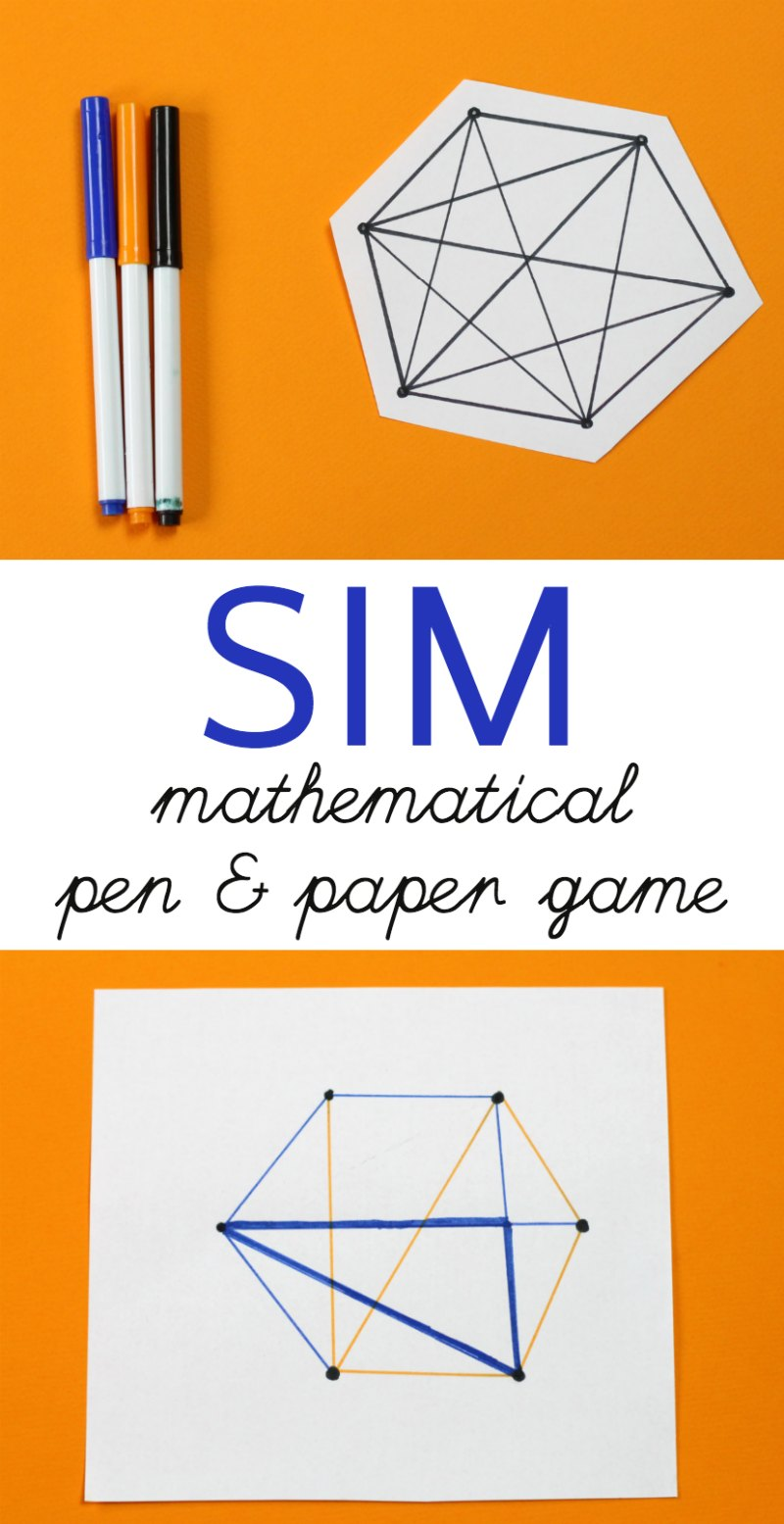 Pen and paper game that is also a math game for kids. Sim makes a great travel game or waiting game for families, too.