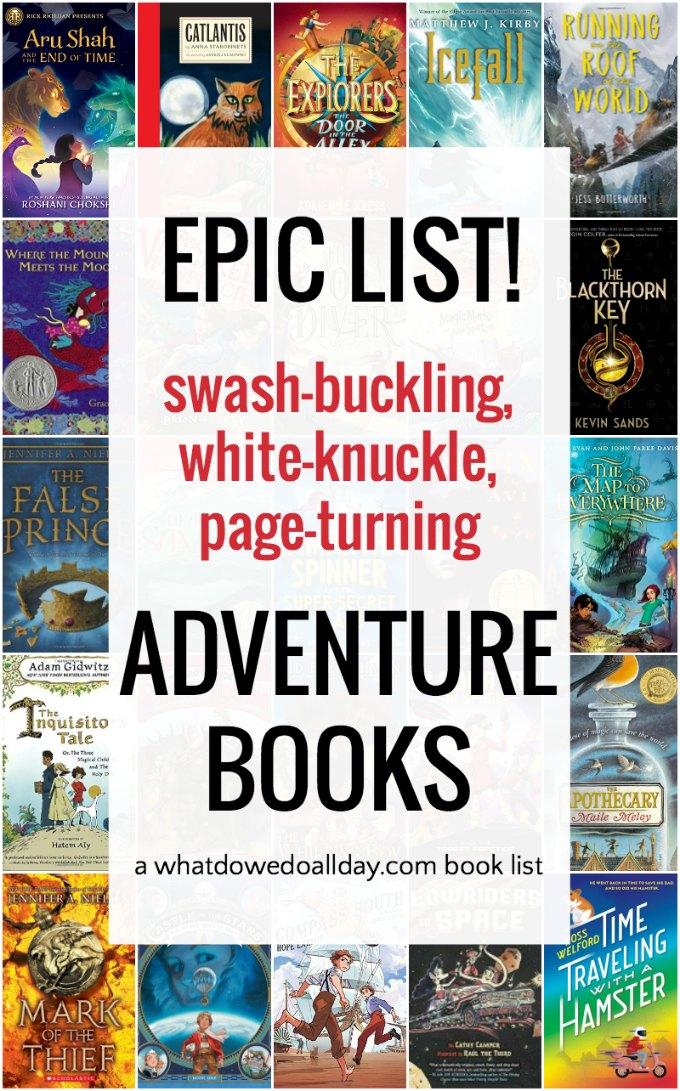 Giant list of adventure books for kids