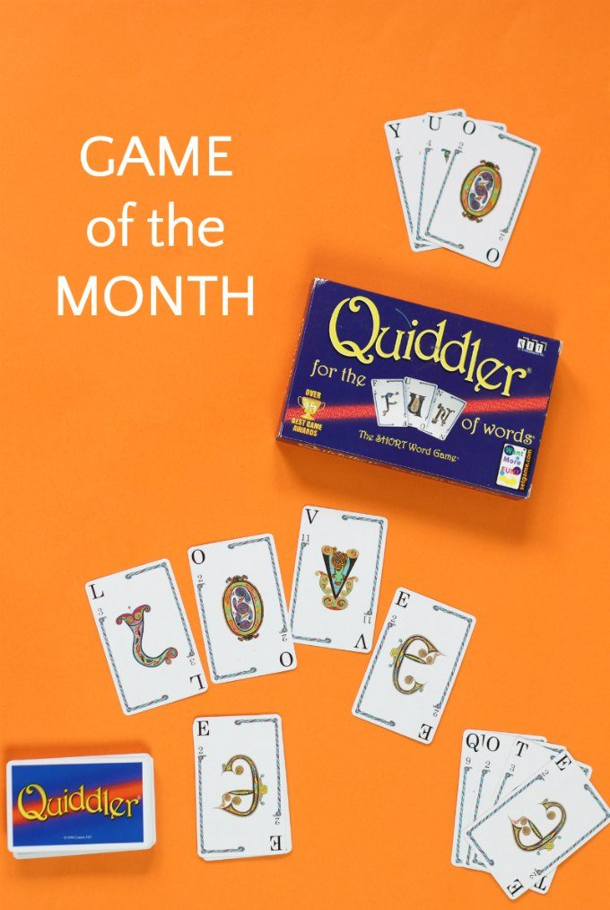 Family literacy card game Quiddler is our game of the month.