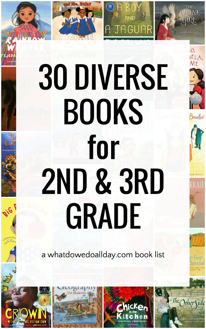 Diverse books for 2nd and 3rd grade. This children's book list is organized into 6 weeks of 5 books each so it can easily be used for classroom read alouds, or parents can read straight through for a month of reading.
