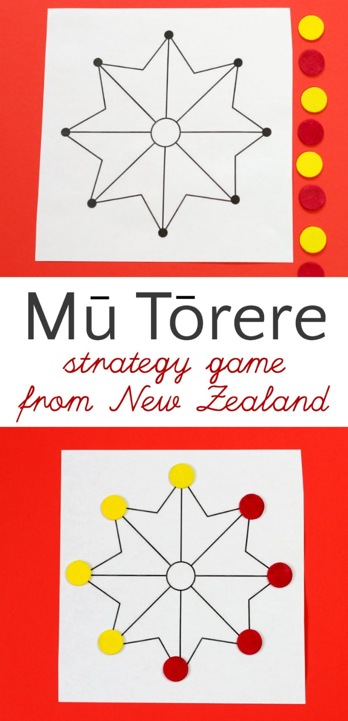 How to play Mu Torere, a board game for kids from the Maori people of New Zealand. A fun brain-boosting abstract strategy game. If you can play Tic Tac Toe, you can play this. Get the instructions in the post. #games #boardgames #familygames