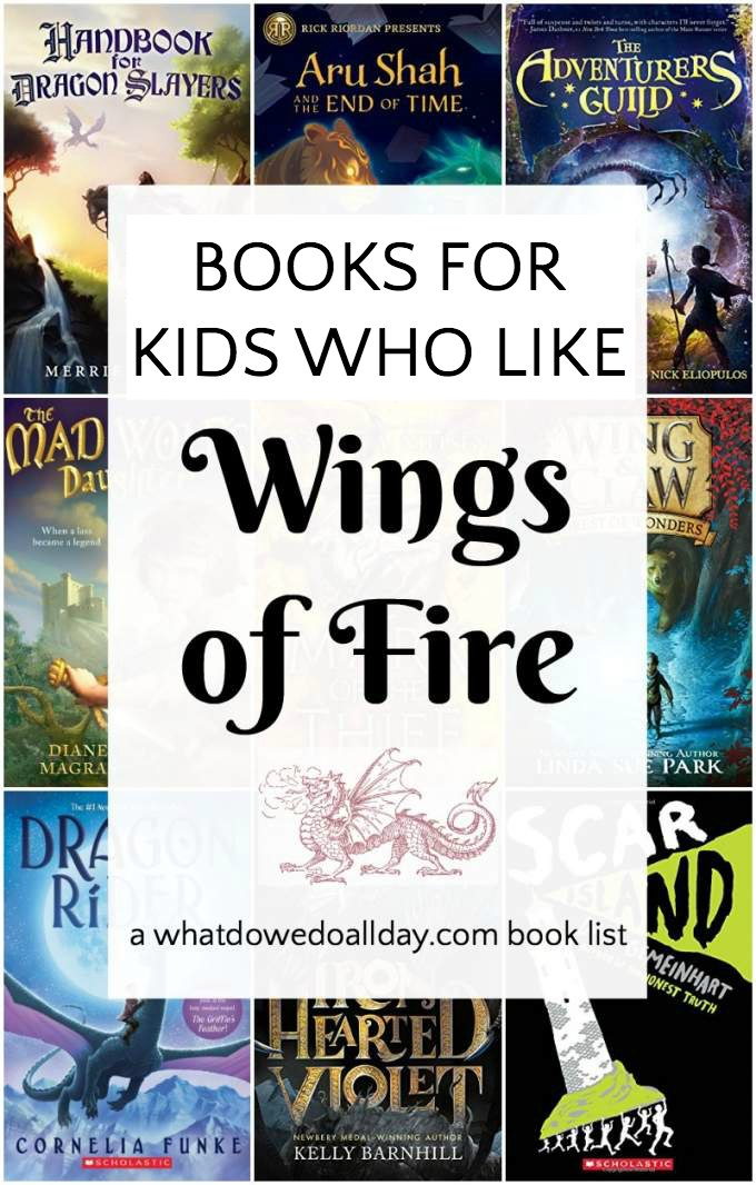 Do your kids like the Wings of Fire book series. These middle grade books are perfect for kids who like fantasy, adventure and dragons. #childrensbooks #dragons