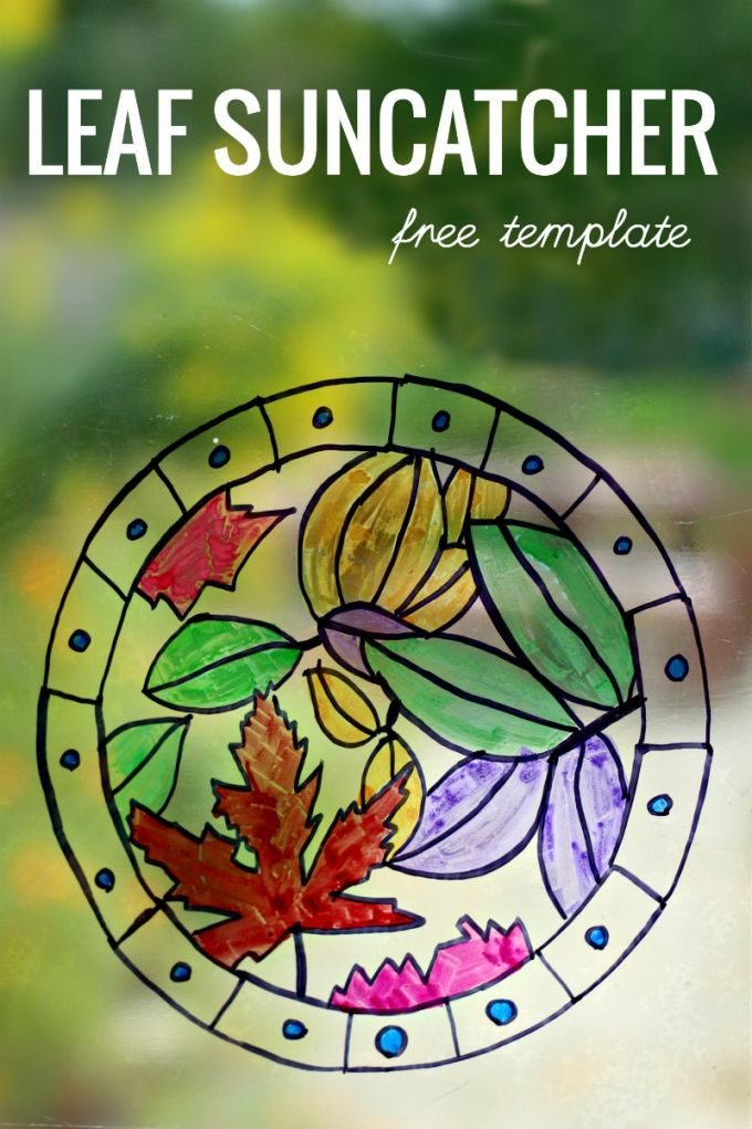 Leaf suncatcher craft project and free printable template
