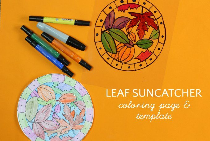 Leaf suncatcher template and coloring page