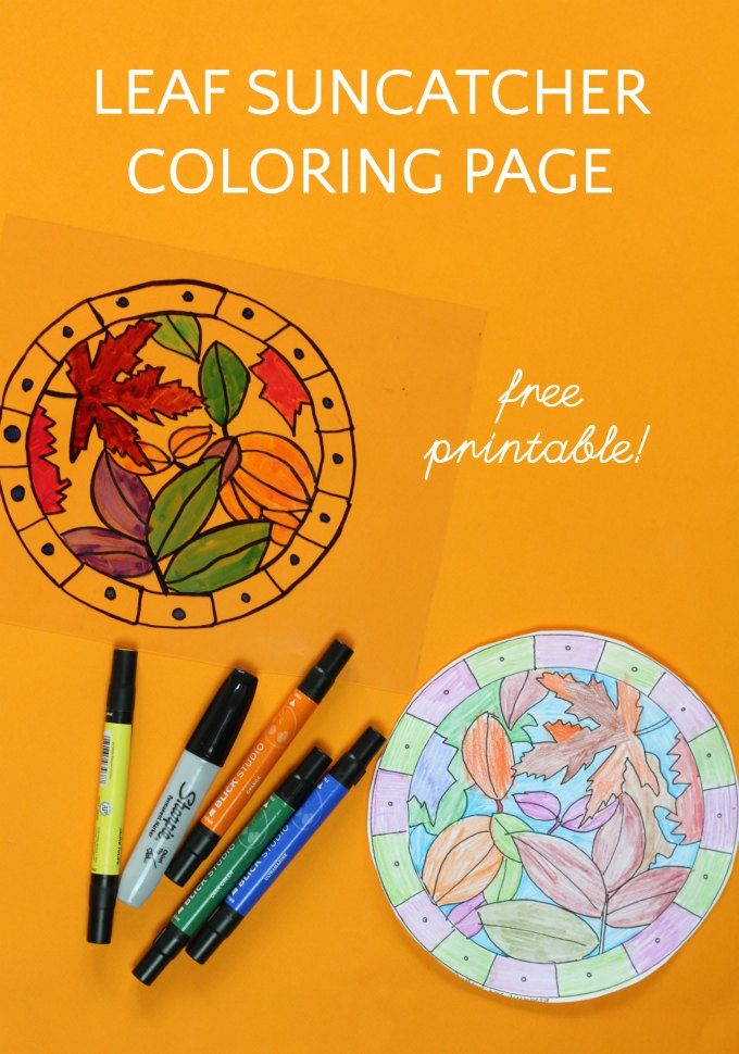 Fall leaf suncatcher coloring page
