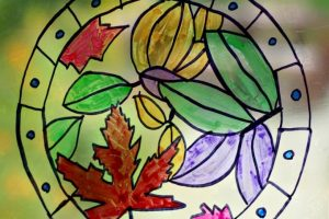 Gorgeous Fall Leaf Suncatcher Coloring Page