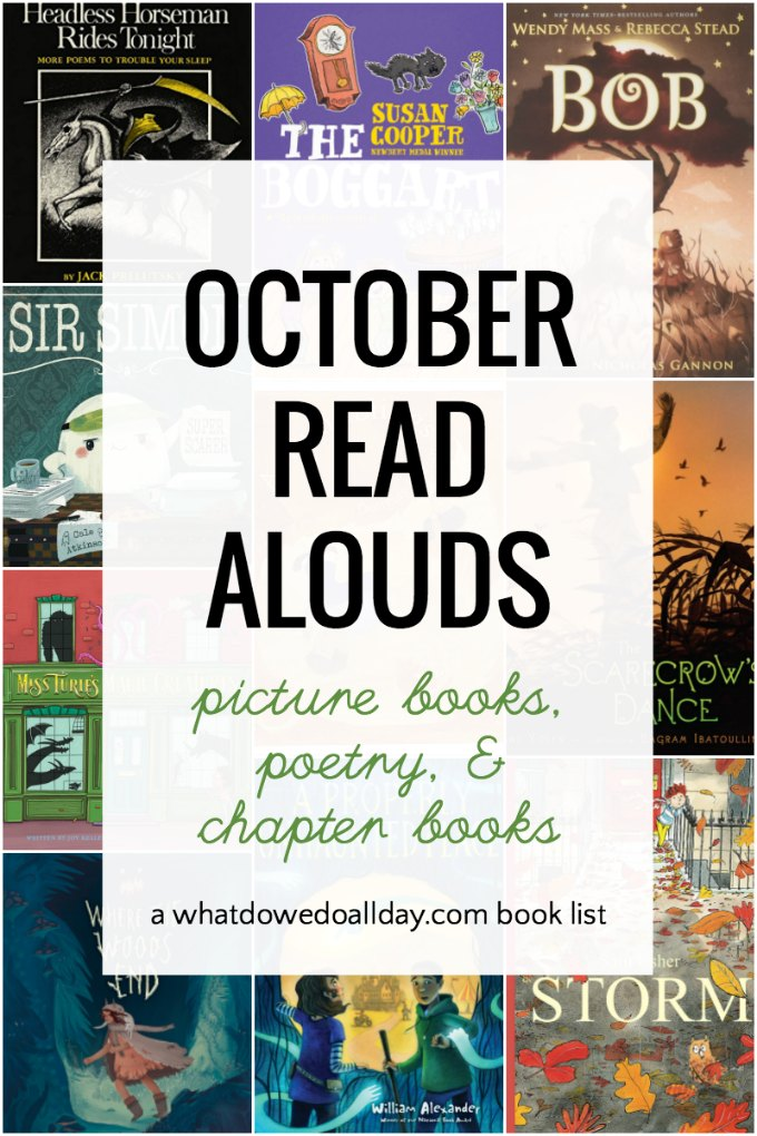 October books to read aloud to children. Picture books, poetry and chapter book selections that make great read aloud books during the fall months. Themes include magical creatures and fall weather.