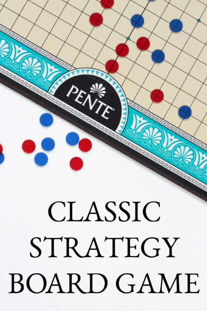 Pente is a classic board game. It is a good family game that can be played with teams or individually. This game is easy to learn and hard to master so it has a long lasting interest for family game night.