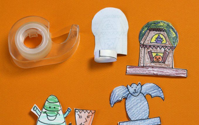 How to tape Halloween finger puppet tabs