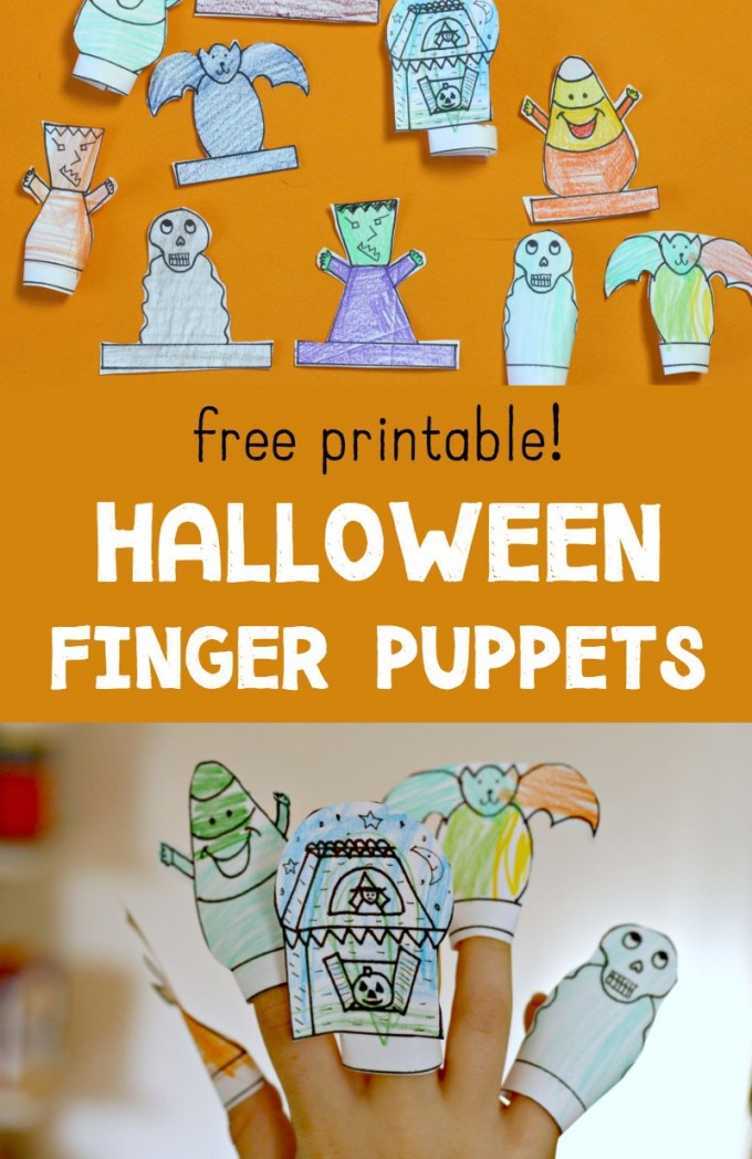Free, printable Halloween finger puppets. Color and cut out these diy puppets to inspire pretend play. Tell Halloween stories, sing songs or just play!