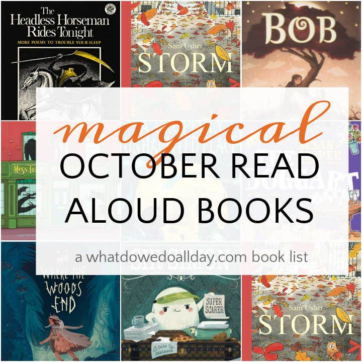 Collage of children's books for October reading