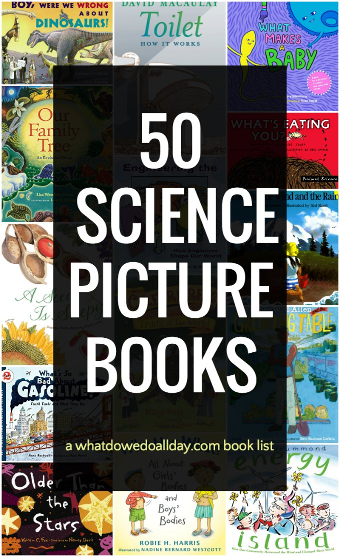 50 of the best science books for kids. These nonfiction science books will fill your children's heads with more facts than they can every imagine! There are 5 children's books for each of 10 different science subjects. Read and learn! Click through for the entire list. #science #sciencebooks #childrensbooks
