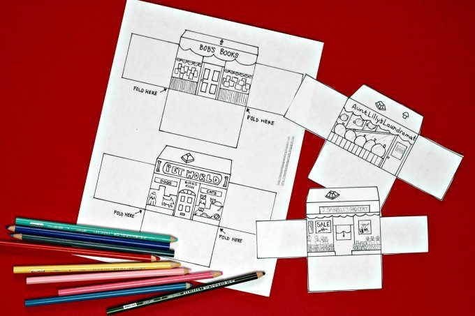 Aunt Lilly village shop printable coloring page