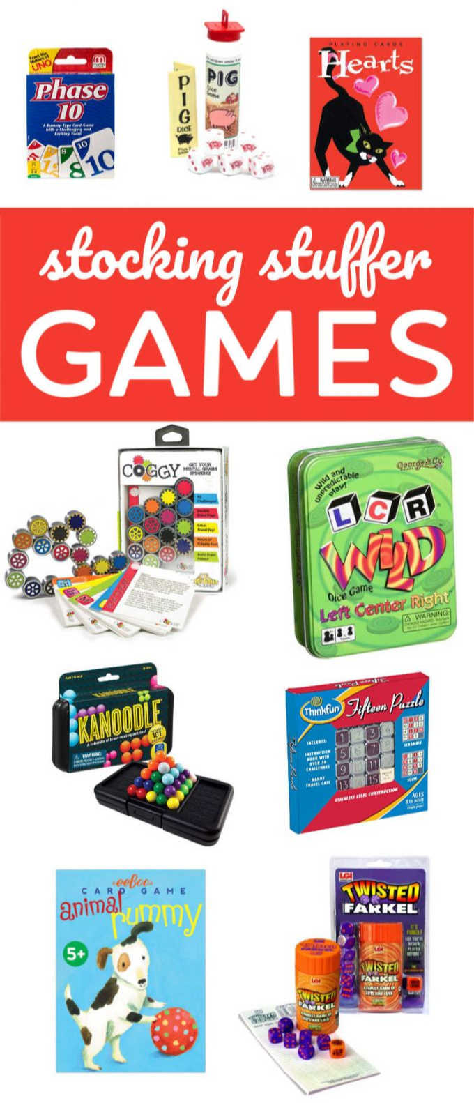 Family games that make great stocking stuffers for kids and fun-loving adults. Card games, dice games and single-player logic games will keep everyone busy after all the gifts have been opened. These games are for the whole family and are great travel games! #games