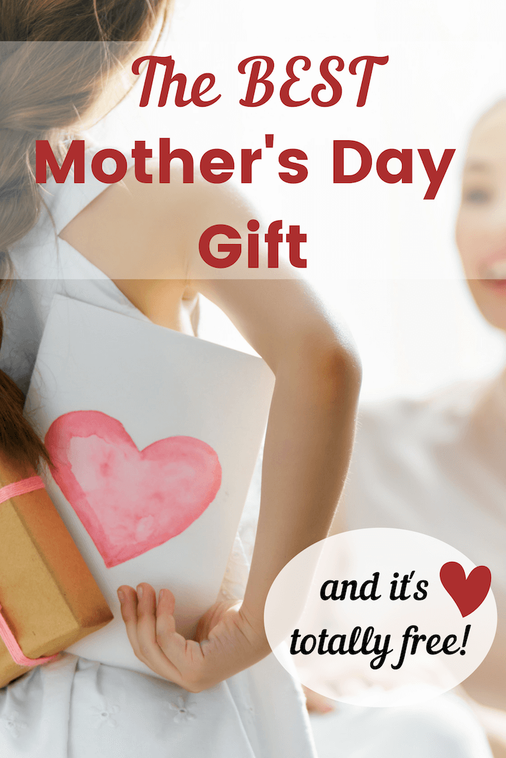 Girl giving her mother a surprise card and Mother's Day gift