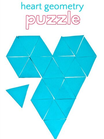 Geometry puzzle in the shape of a heart made from triangles