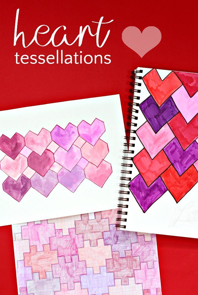 Tessellations with hearts three different ways