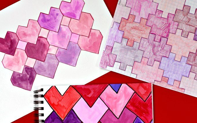 How to draw heart tessellations