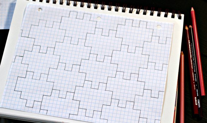 Heart tessellations on graph paper