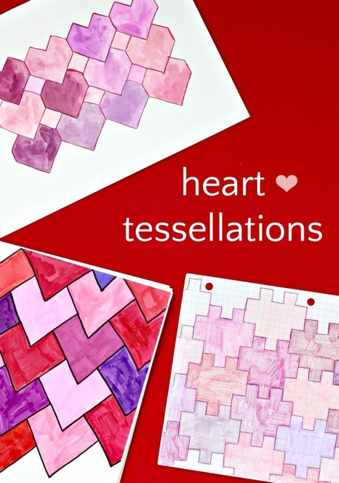 How to draw heart tessellations three ways for a STEAM Valentine's Day math art project.