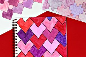 Heart tessellations is a good STEAM project for Valentine's Day
