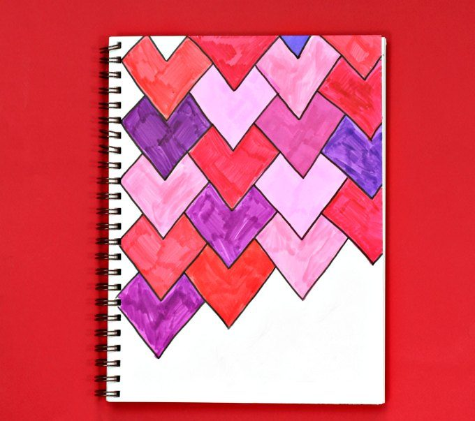 Art journal full of valentine tessellations