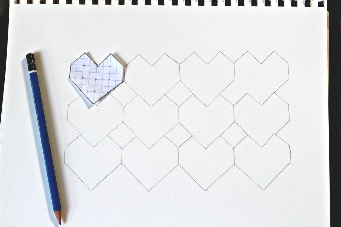 Blank heart tessellation sheet