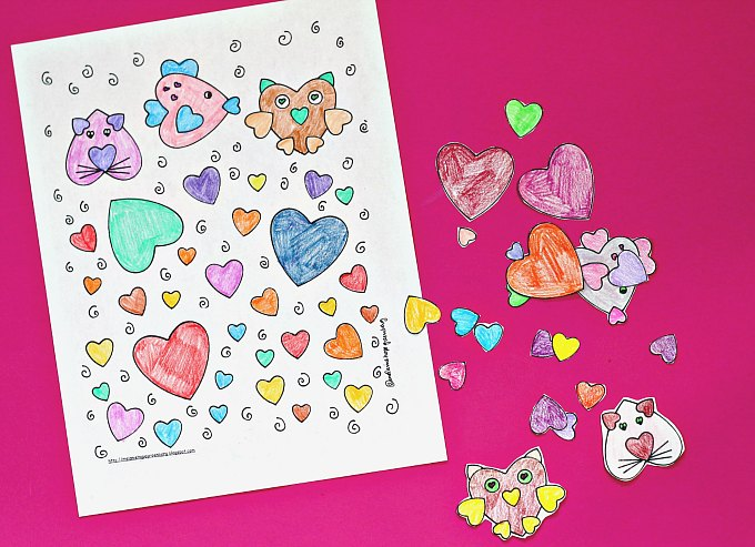 Heart animals coloring page and cut outs