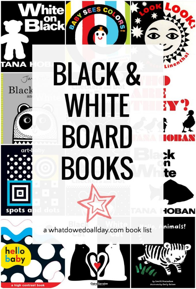 Black and white board books are high interest books for babies