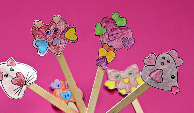 Finished heart animal stick puppets