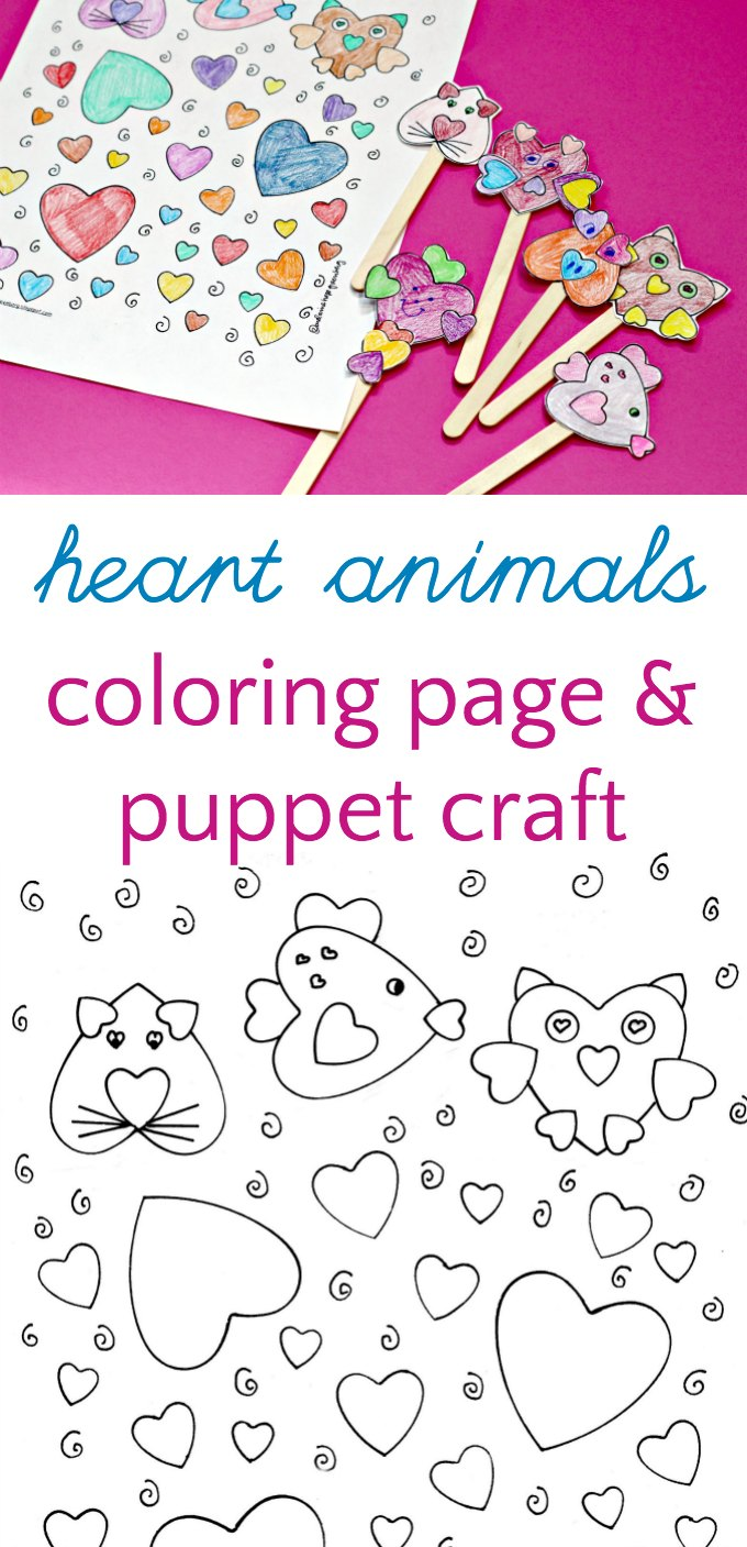 Heart animals coloring page and stick puppet craft for kids with a free printable