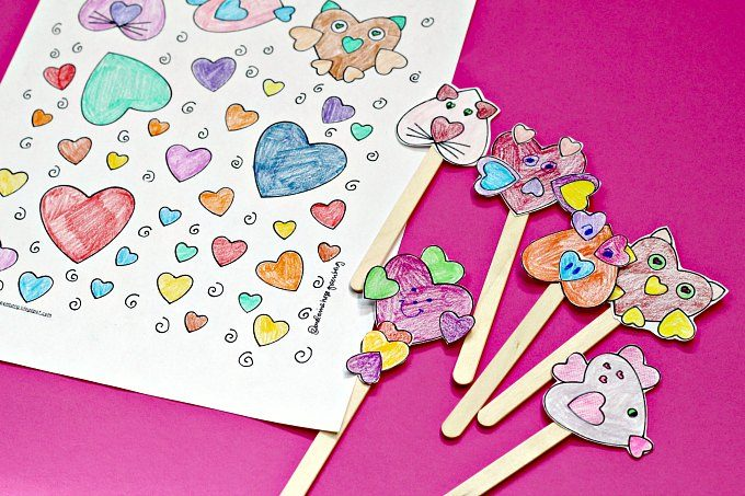 heart animals coloring page and stick puppets
