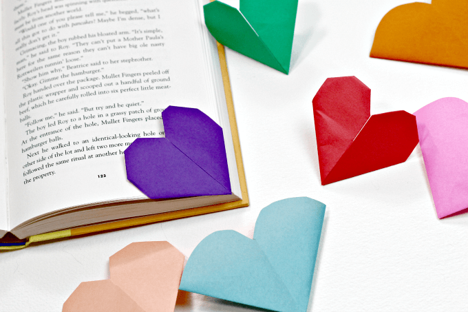 heart origami bookmarks