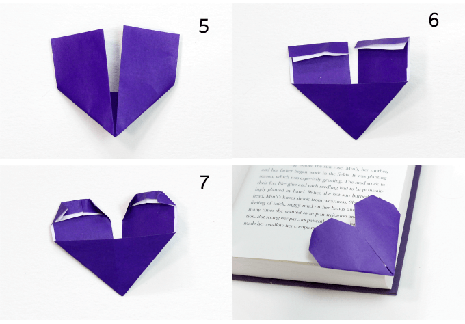 How to fold origami heart bookmarks part two