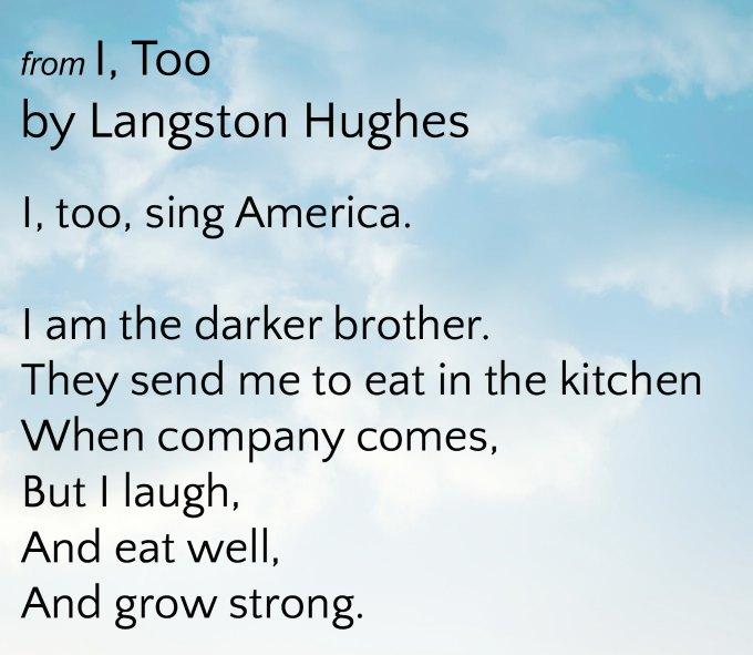 Langston Hughes poem I Too