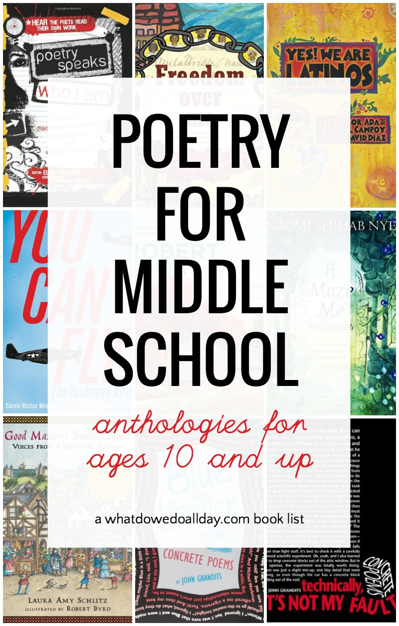 List of poetry anthologies and poems for middle school kids
