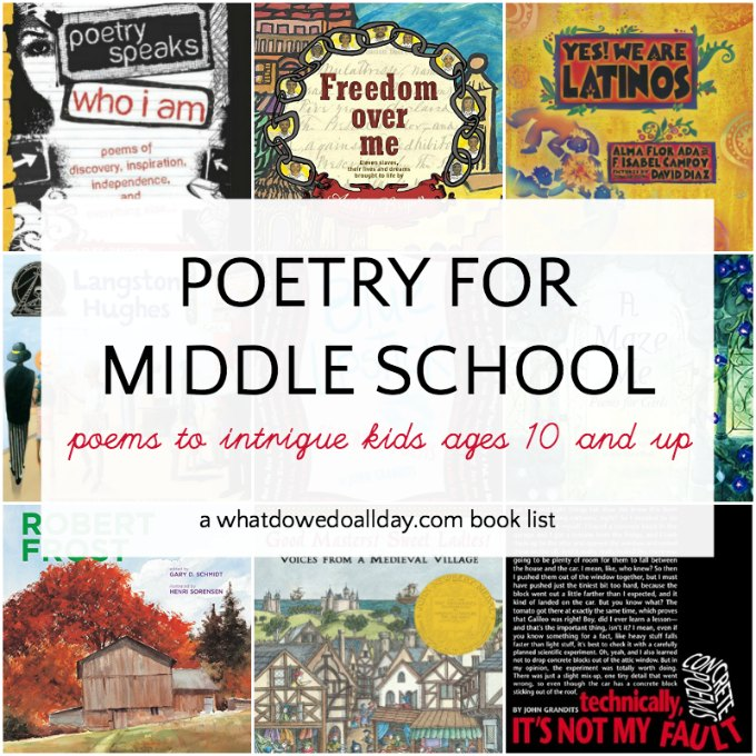 A list of poetry books for middle school