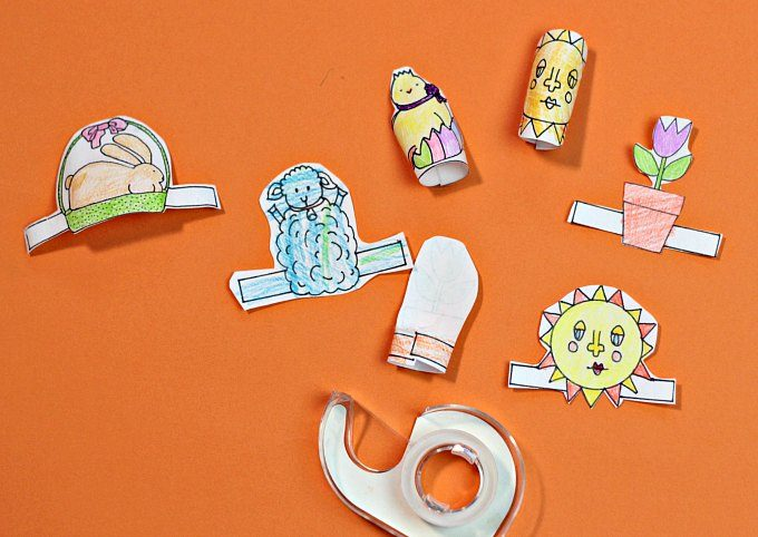 Ready to tape spring finger puppet tabs