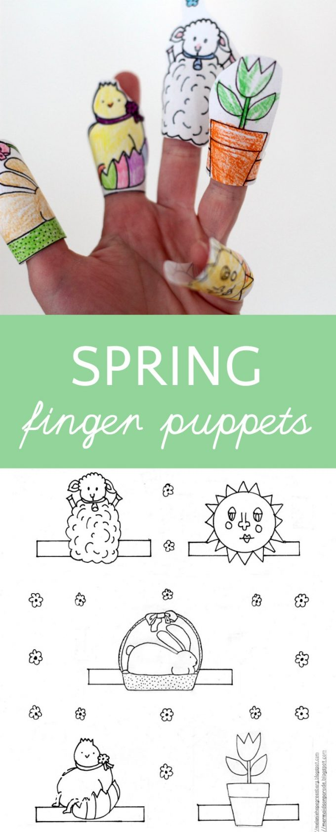 Adorable printable spring finger puppet coloring page