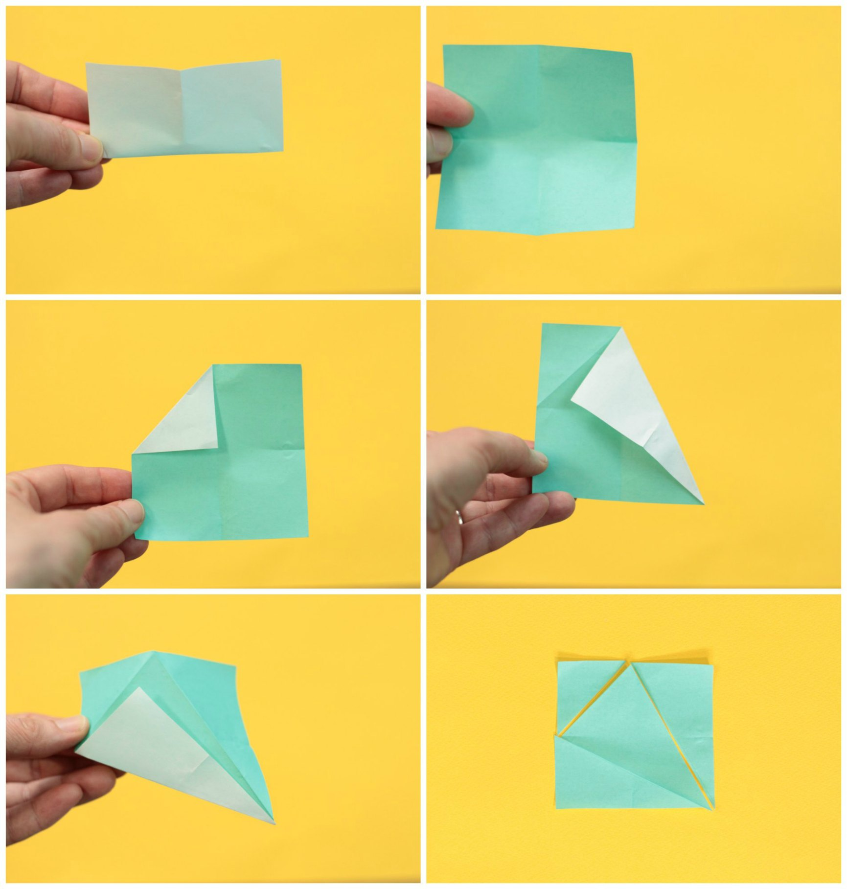 Folding method for making a triangle and square puzzle
