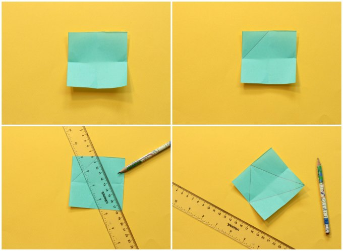 step by step instructions for how to make triangle paper puzzle
