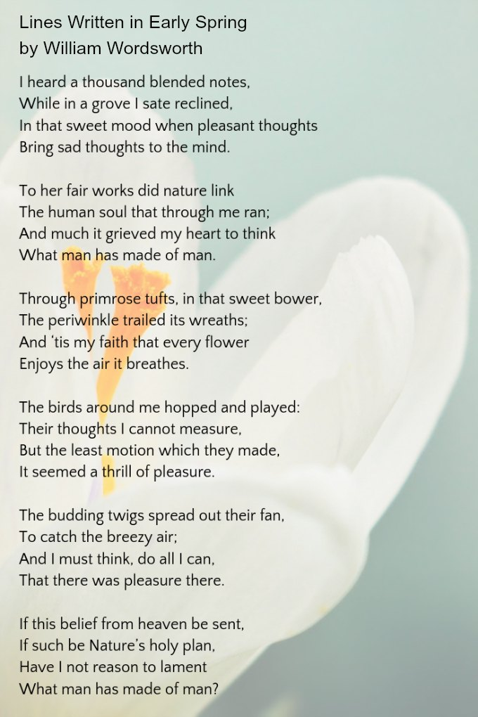 Lines written in early spring by william wordsworth